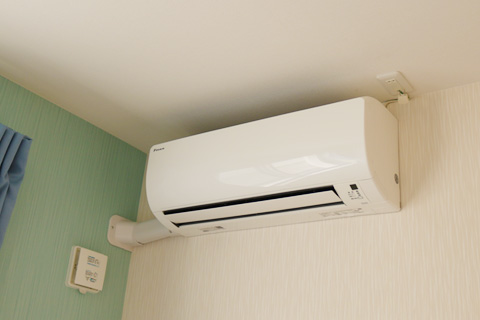各部屋にエアコン完備です